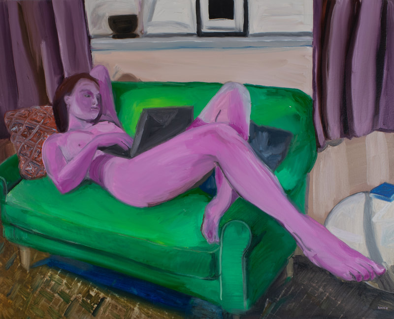 Pink femme nude figure reclined at ease upon a green couch holding a laptop.