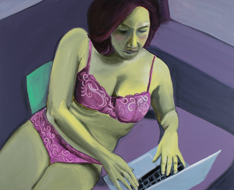 Femme with olive green skin and purple lace underwear props themselves up on their fore arms while typing on a laptop.